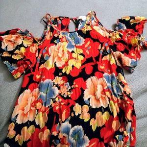 LOFT floral cold shoulder dress
